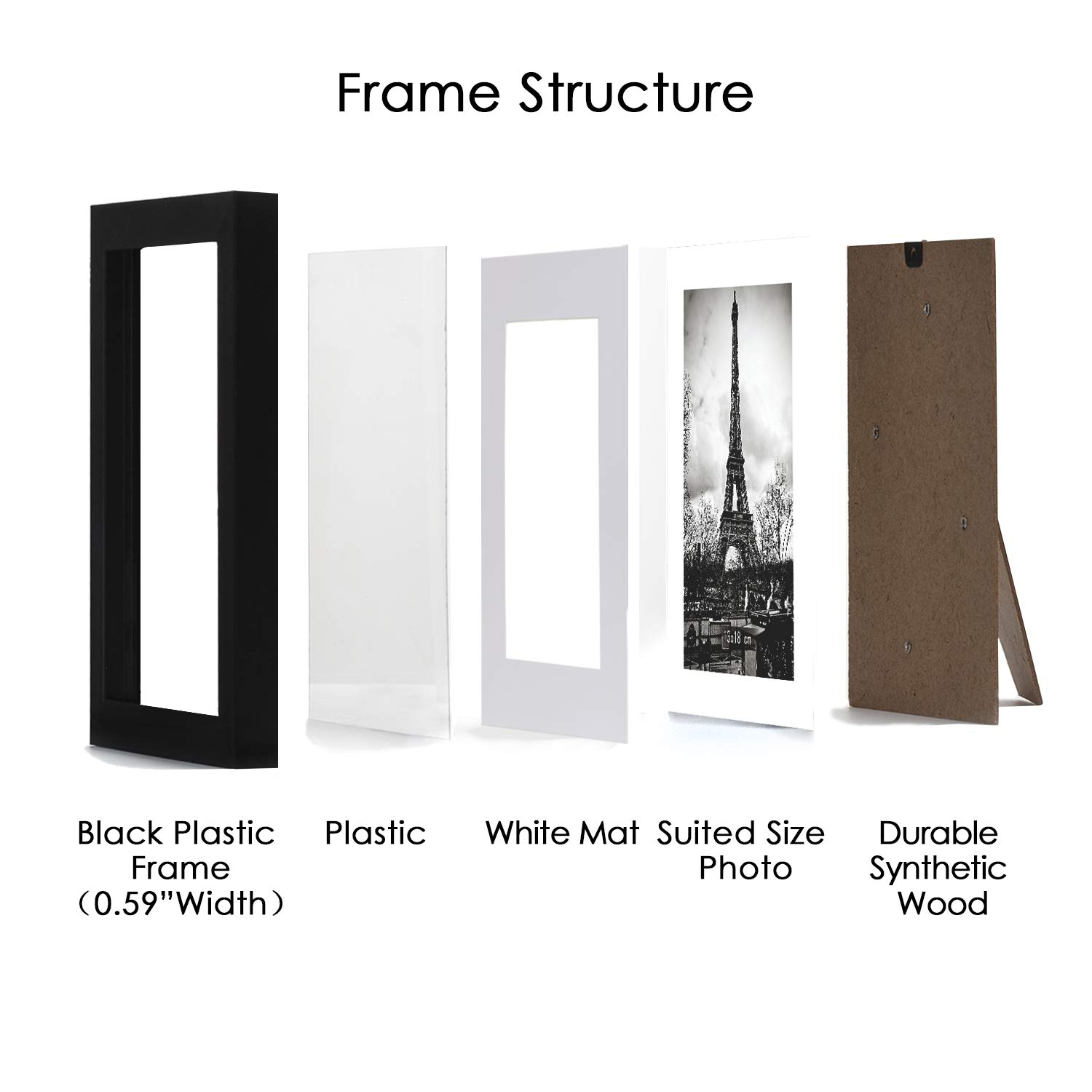 upsimples 8x10 Picture Frame with Mat Set of 10,Black Picture Frames for Wall or Tabletop Display,Gallery Wall Frame Collage by upsimples (Image #4)