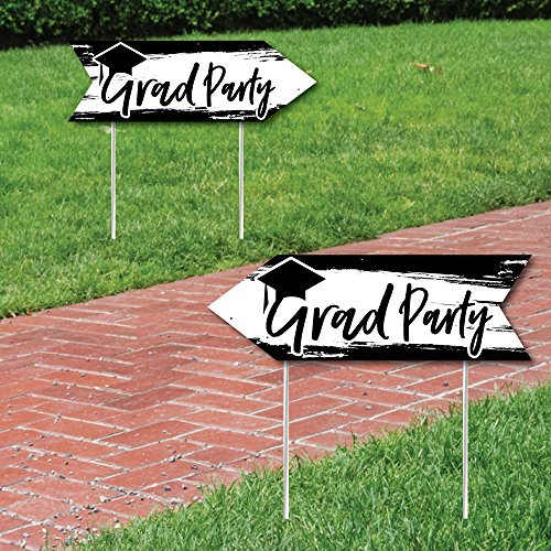Black & White Grad - Best is Yet to Come - Black and White Graduation Party Sign Arrow - Double Sided Directional Yard Signs - Set of 2