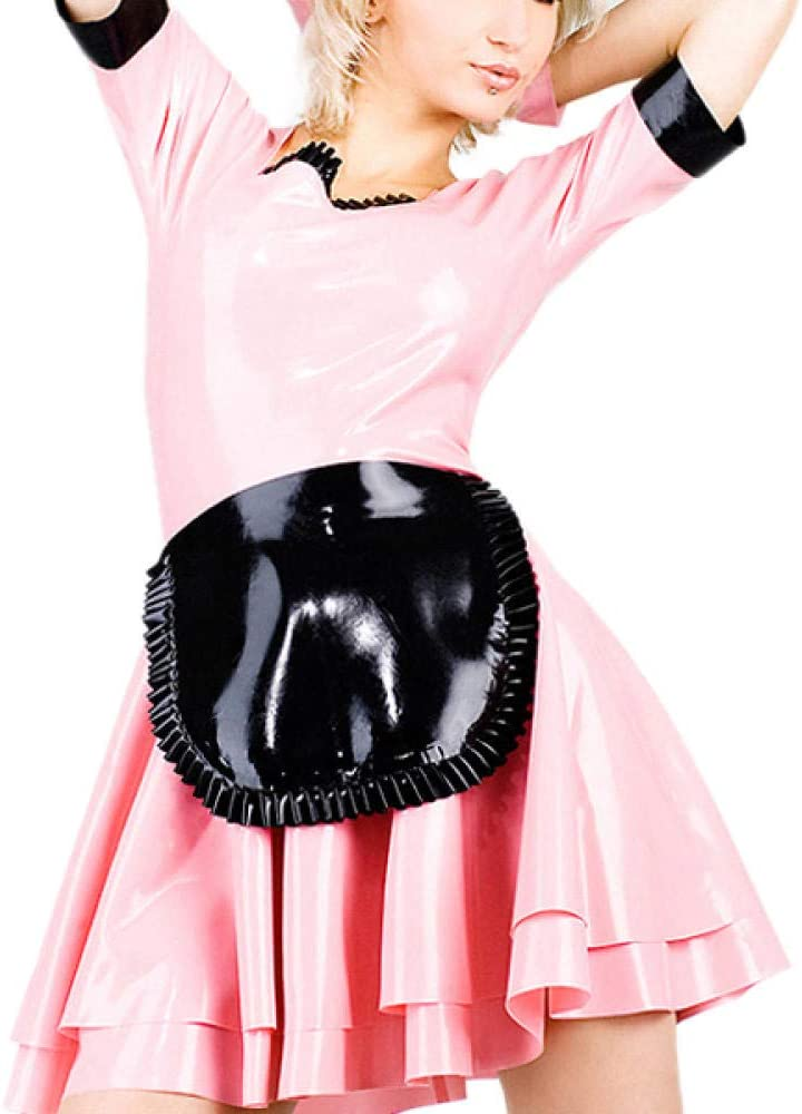 lenceria de cuero sexy mujerLatex Maid outfit Pink Latex Dress Uniform Suit With Apron (No Gloves)-Orange_M