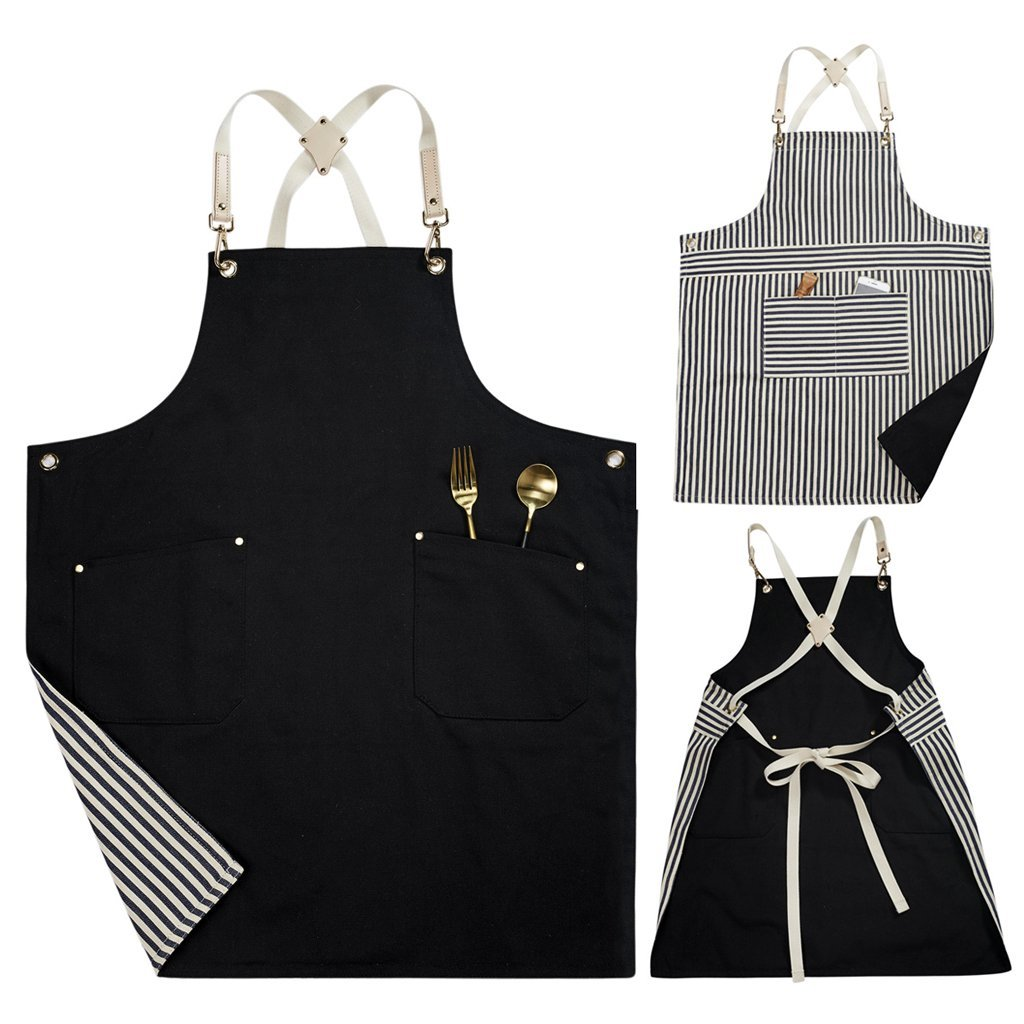 Double sided (Stripe and Black) Cotton Canvas Durable Apron with Convenient Pocket, Professional Apron for Cooking,Grill and Baking. Cross-Back Straps & Adjustable up to XXL for Men and Woman.