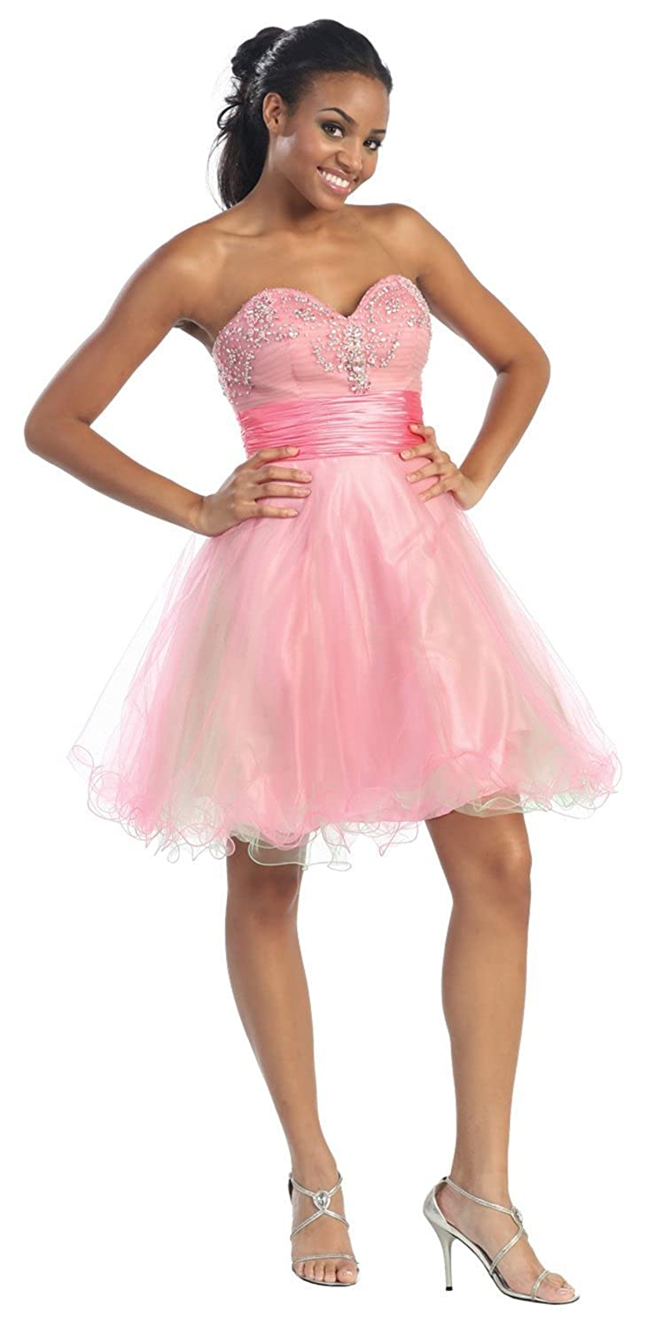 US Fairytailes Strapless Cocktail Party Junior Prom Dress #2651 at Amazon Womens Clothing store: