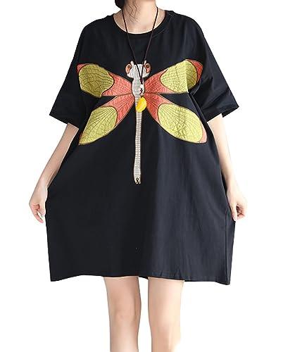 ELLAZHU Las mujeres verano crew neck Loose Fit Print Mid Long T - shirt GA659 A