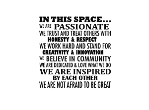 Imposing Design in This Space we are Passionate 23 X 23 Vinyl Wall Quote Office Decal Sticker Lettering Work Space Classroom Art Decor Motivational Inspirational Decorative Lettering