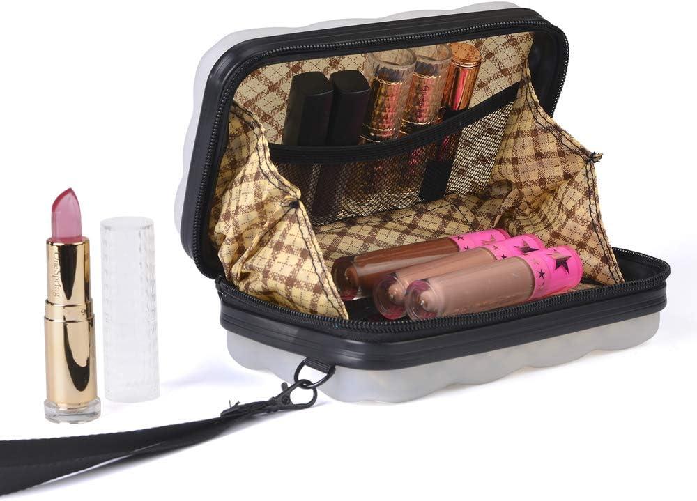 Bl Mini Sac /à Main avec Fermeture /à glissi/ère et Poches int/érieures Sac de Maquillage et de Voyage imperm/éable /à la cosm/étique /étui pour Organisateur de Brosse /à cosm/étiques Portable