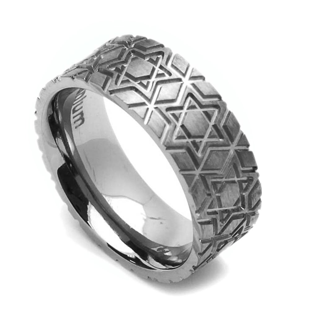 Double Accent 8MM Comfort Fit Titanium Wedding Band Star Of David Flat Ring Size 6 to 14