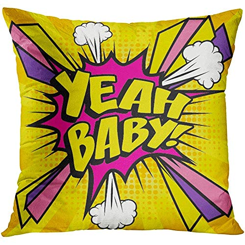 (Throw Pillow Cover Funny Pop Comics Yeah Baby Speech Bubble Cartoon Explosion Arrow Boom Decorative Pillow Case Home Decor Square 18x18 Inches Pillowcase)