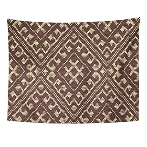 (Tarolo Decor Wall Tapestry Brown Pattern Tribal Aztec Wool Knitted Knit Jacquard Dress Scarf 60 x 50 Inches Wall Hanging Picnic for Bedroom Living Room)