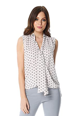 49bd68620b32d6 Roman Originals Womens Tie Neck Spot Sleeveless Top at Amazon Women s  Clothing store