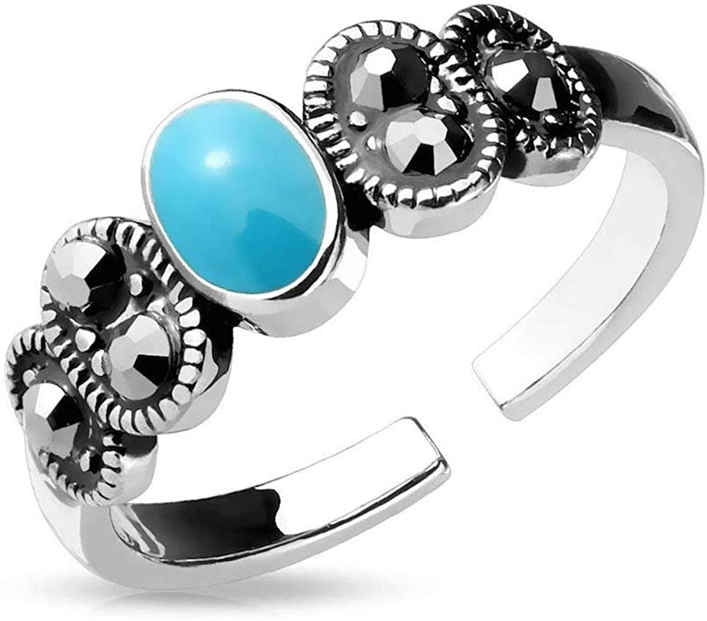 Covet Jewelry Adjustable Toe Ring//Mid Ring Black Diamond Crystal and Turquoise Center