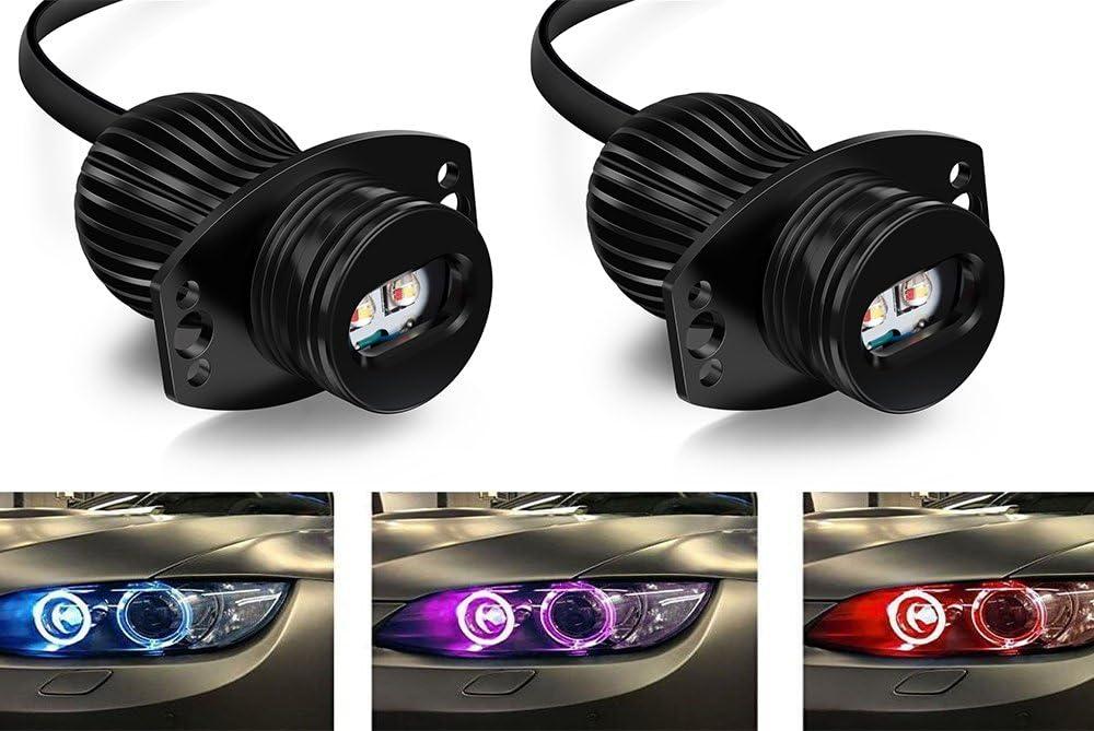 eximtrade Auto WiFi RGB Multicolor App Control Ultra helles LED-Licht 1200LM Angel Eyes CREE XML 40/W f/ür E90