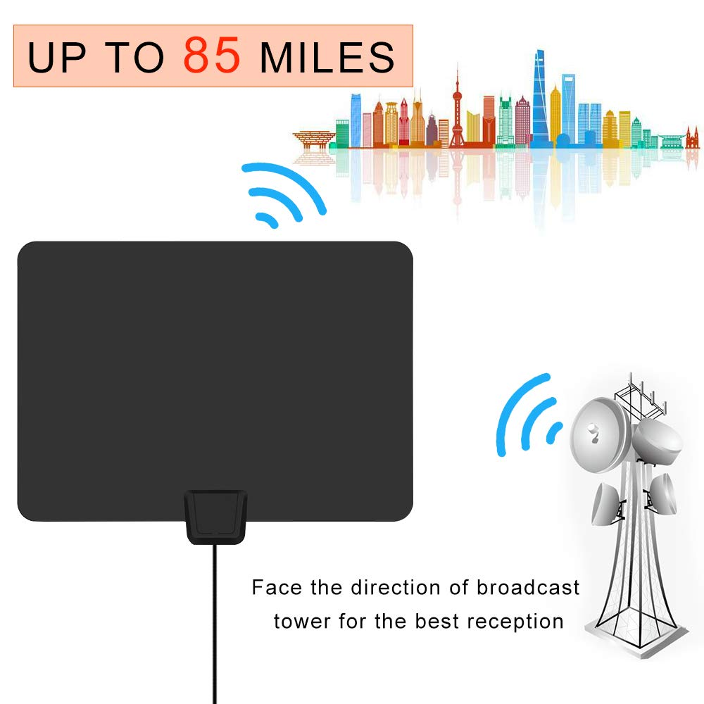 HDTV Antenna, 2019 New Indoor Digital TV Antenna 60-90 Miles Range, Amplifier Signal Booster Support 4K 1080P UHF VHF Freeview HDTV Channels-Support All Television by BEFORE (Image #4)