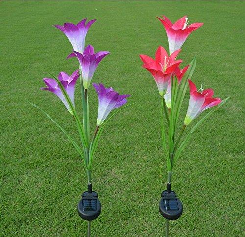 WHATOOK Solar Flower Garden Light Lawn Lamp Waterproof Decor Led Lights For Outdoor Yard Pond Garland Decoration Lighting (solar Lily Flower)
