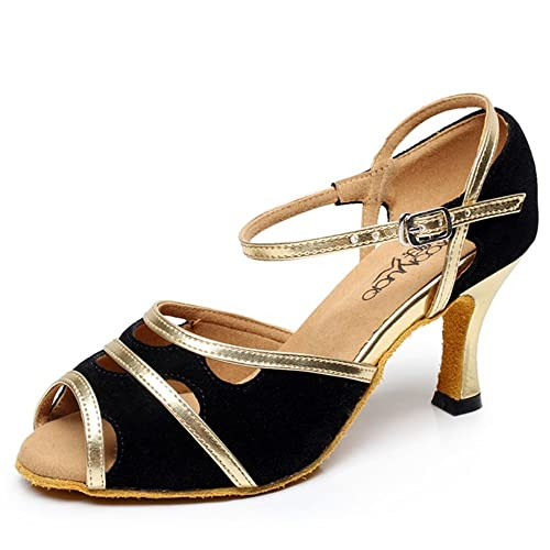 df1f8a046 TMKOO& Female adult Latin dance shoes high-heeled dance shoes (Heel7.5cm) (  Color : Black, Size : 37 ): Amazon.co.uk: Shoes & Bags