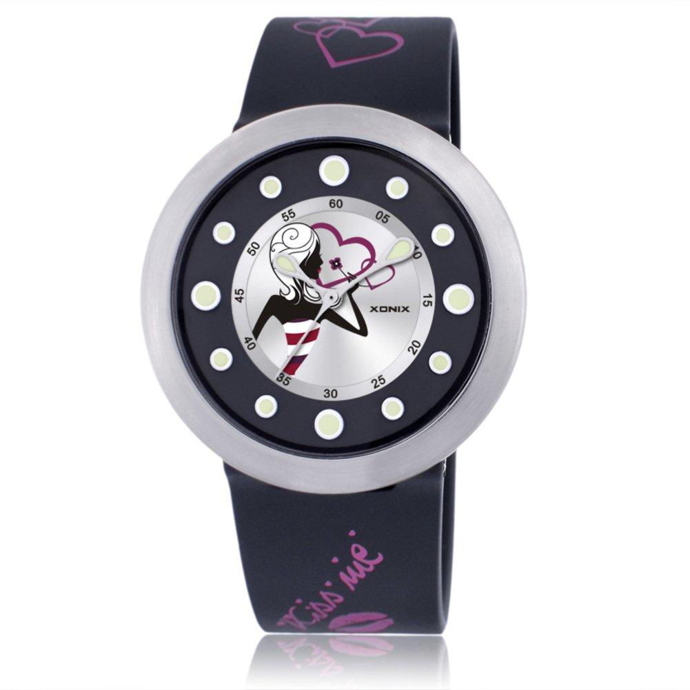 Girl's cartoon colorful fashion analog quartz watch, Cute pointer 50 m waterproof round dial children wristwatch-K