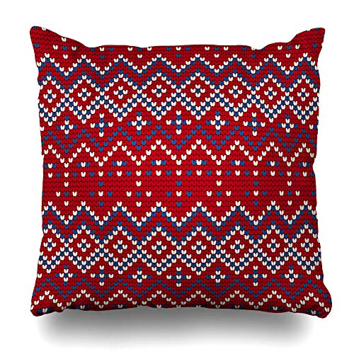 Ahawoso Throw Pillow Cover Winter Red Baltic Pattern Ugly Sweater Abstract Icelandic Vintage Canvas Christmas Craft Fiber Design Home Decor Pillowcase Square Size 18 x 18 Inches Zippered Cushion Case