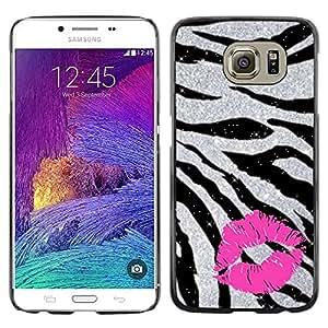 Exotic-Star ( Zebra Fur Silver Glitter Sparkling Pink ) Fundas Cover Cubre Hard Case Cover para Samsung Galaxy S6 / SM-G920 / SM-G920A / SM-G920T / SM-G920F / SM-G920I