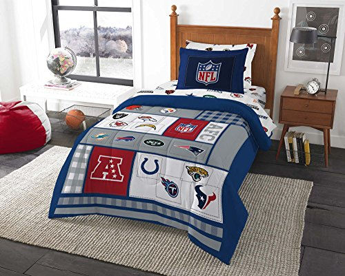 8pc NFL Twin Bedding Set Football AFC vs NFC Comforter and Multi Team Anthem Sheets by Northwest