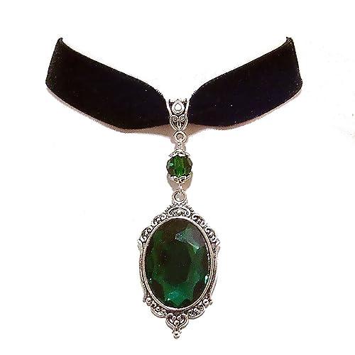 Green Tarja Black Velvet Gothic Choker Mirror Necklace