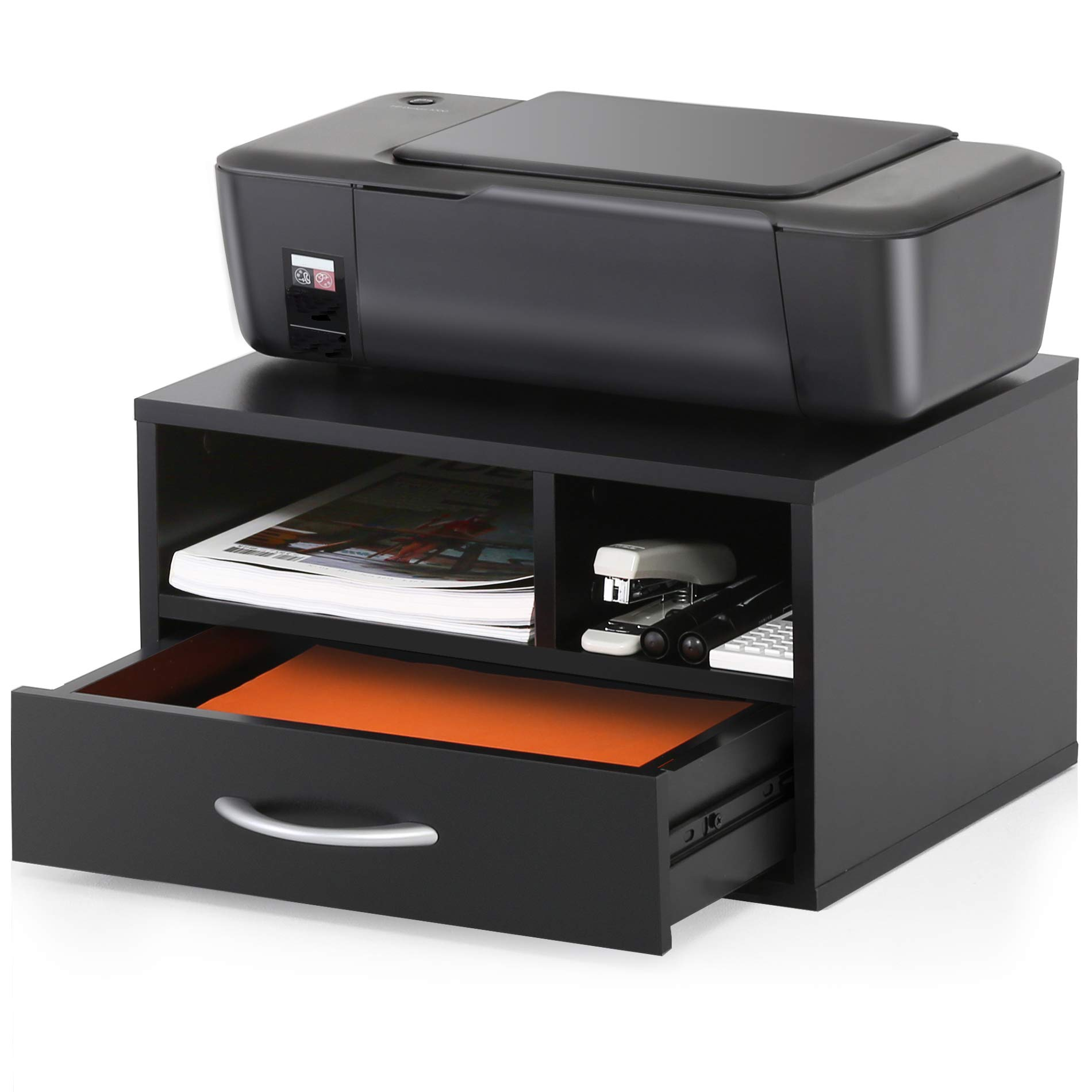 Fitueyes Wood Printer Stands with Drawer,Workspace Desk Organizers for Home & Office,Black,DO304002WB by FITUEYES