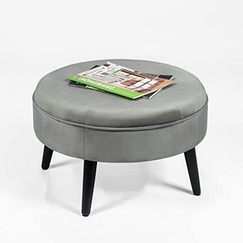 Adeco Round Tufted Fabric Ottoman Foot Rest Footstool – 23x23x14.5 Inch, Gray
