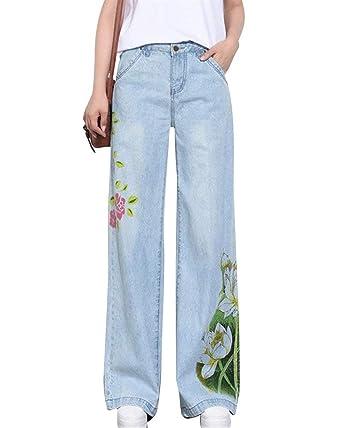 Pantalones Vaqueros De Las Mujeres Pantalones Impreso De ...