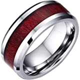 Youdw Couple Ring Wood Grain Titanium Steel Heart Three Layer Ring Ring Set