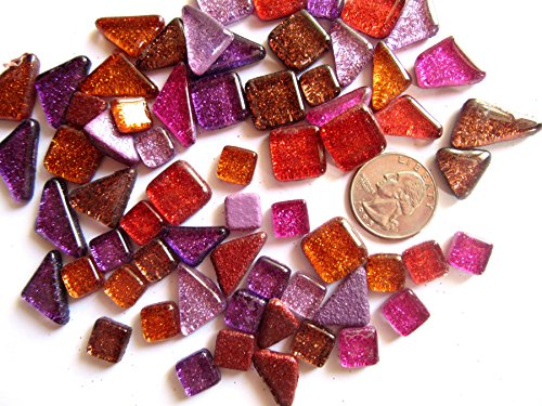 50 Pink, Purple, and Red Glitter Glass Mosaic Tiles, Geometric Mosaic Pieces, Mosaic Art Supplies