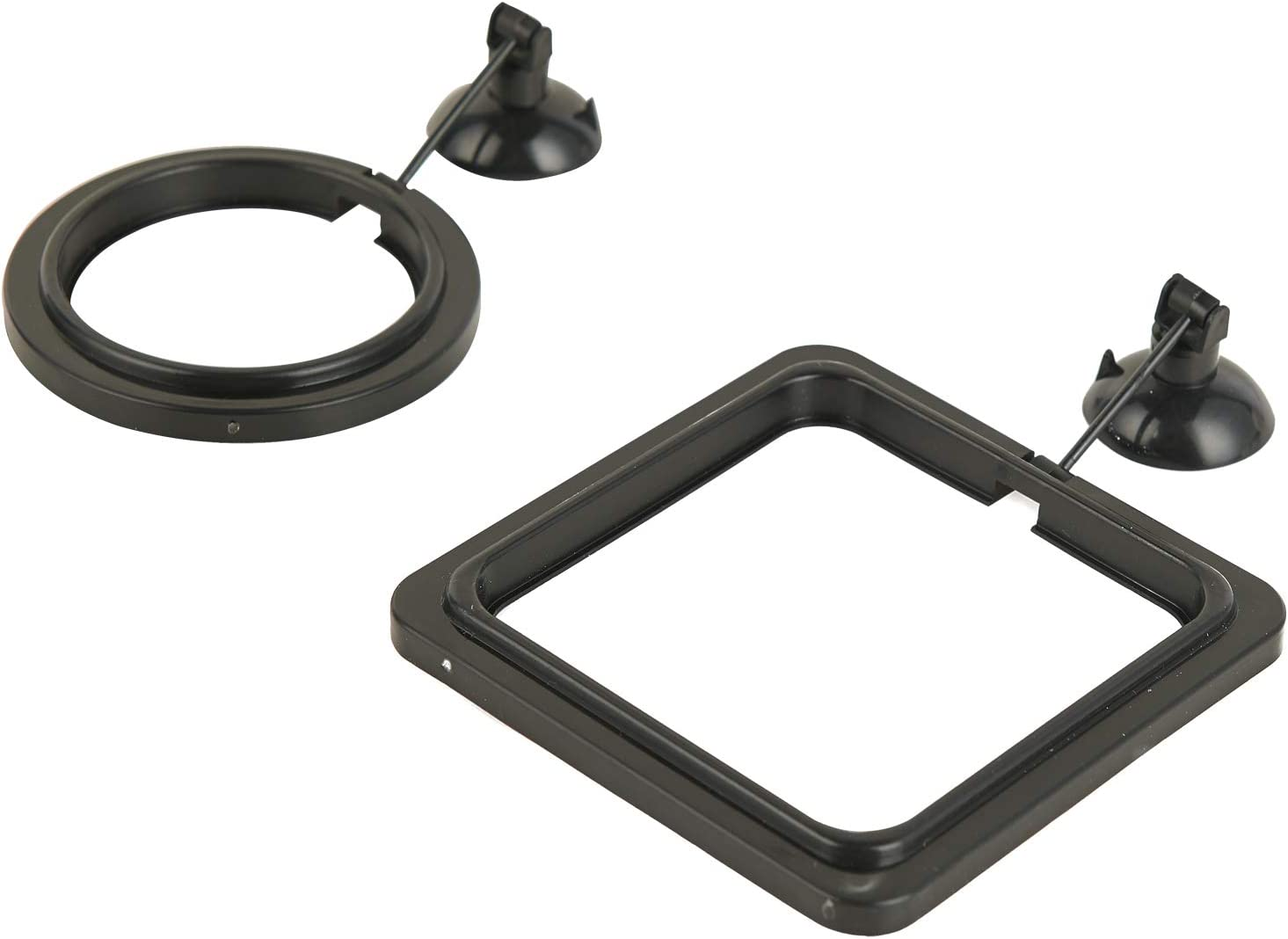 ZRDR Fish Feeding Ring, 2 Pack Black Aquarium Floating Food Feeder Circle Small Round and Square with Flexible Lever Suitable and Suction Cup, Reduces Fish Feeder Waste and Maintains Water Quality