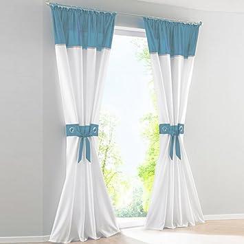 2er Set Transparente Voile Vorhang QuotJajaquot Gardinen Wohnzimmer Vorhnge Kruselband Blau