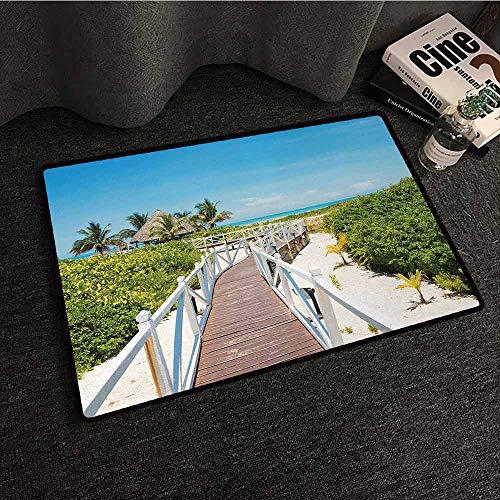 DILITECK Non-Slip Door mat Beach Wooden Walkway Bridge Leading to The Beach Cuban Exotic Destination Purity Pleasure Machine wash/Non-Slip W35 xL59 Multicolor