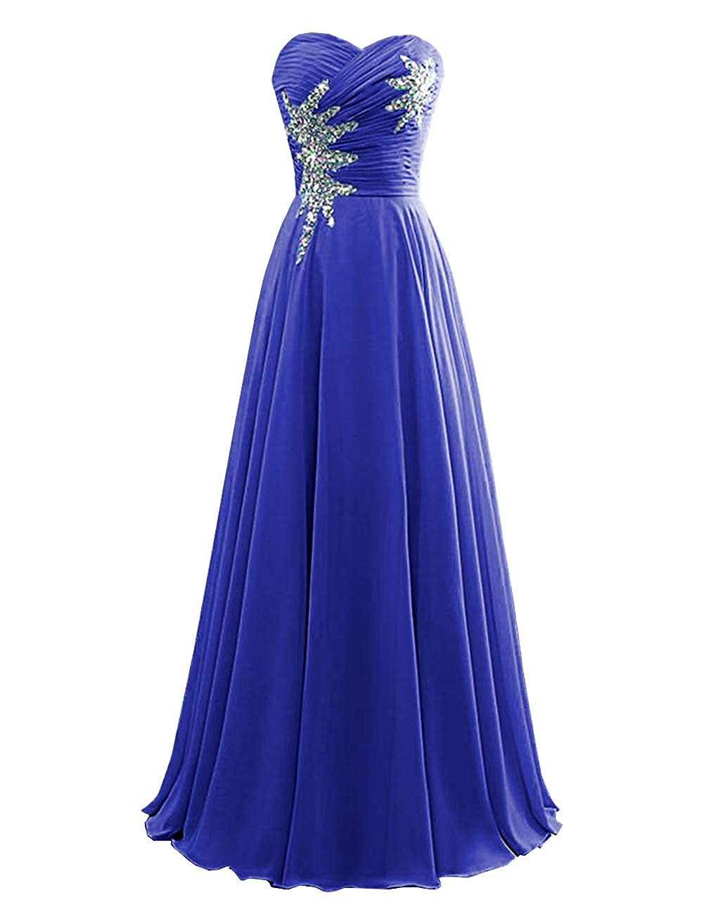 Reoyal bluee Women's Strapless Bridesmaid Dresses Beaded Prom Wedding Party Gowns