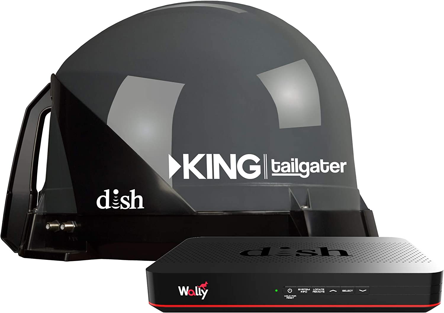 KING VQ4550 Tailgater Bundle — Portable Satellite TV Antenna and DISH Wally HD Receiver