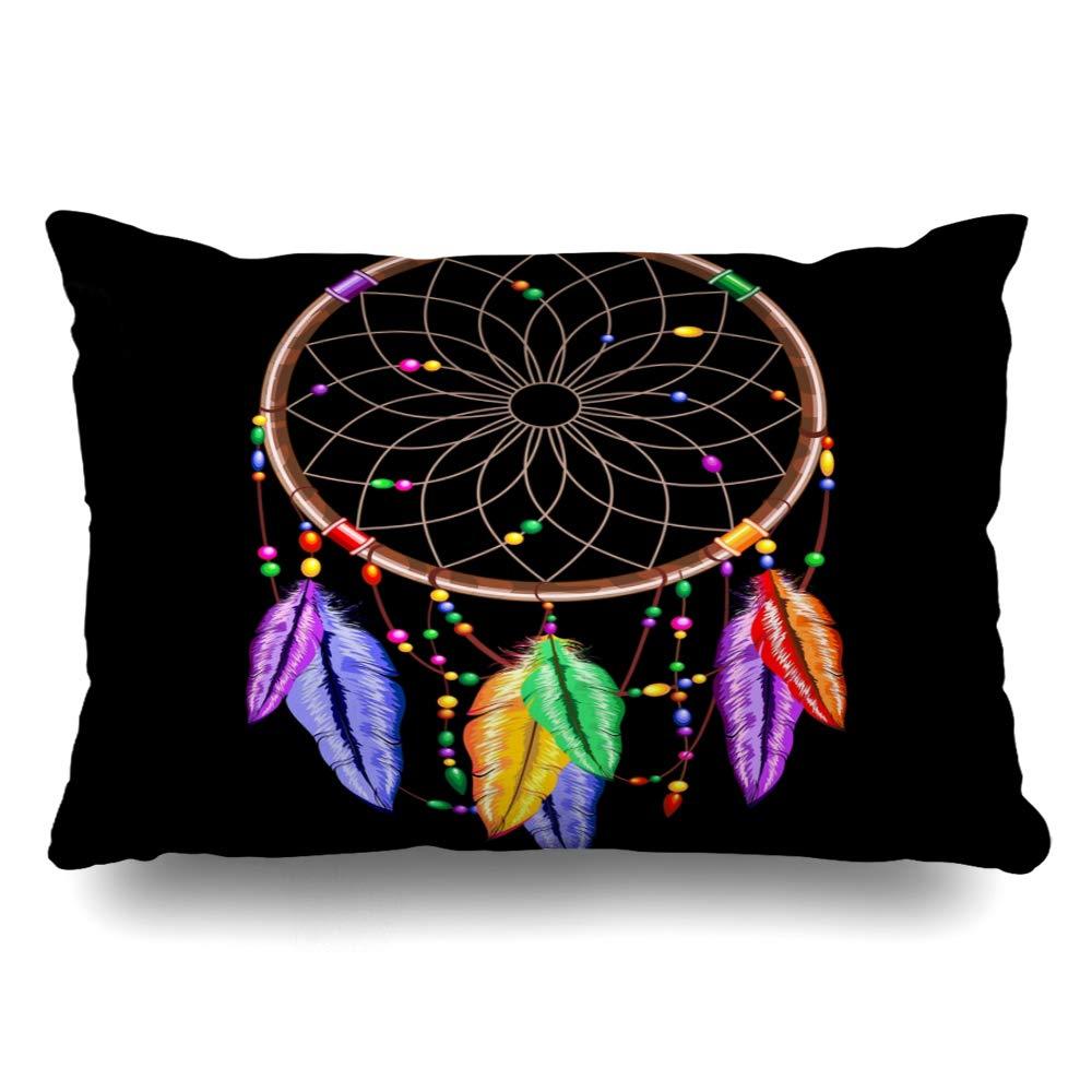 Ahawoso クッションカバー キングサイズ 20x36 抽象的 古代のドリームキャッチャー 虹色の羽 アメリカンビーズ 流行 文化 枕カバー B07RHCJN6S ホームデコレーション インディアンクッションケース 新作多数 フープ コデージ