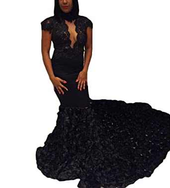 wildestdreamsbridal 2018 Womens Black Mermaid Prom Dresses Long Sexy Rose Pattern Train Formal Evening Gowns -