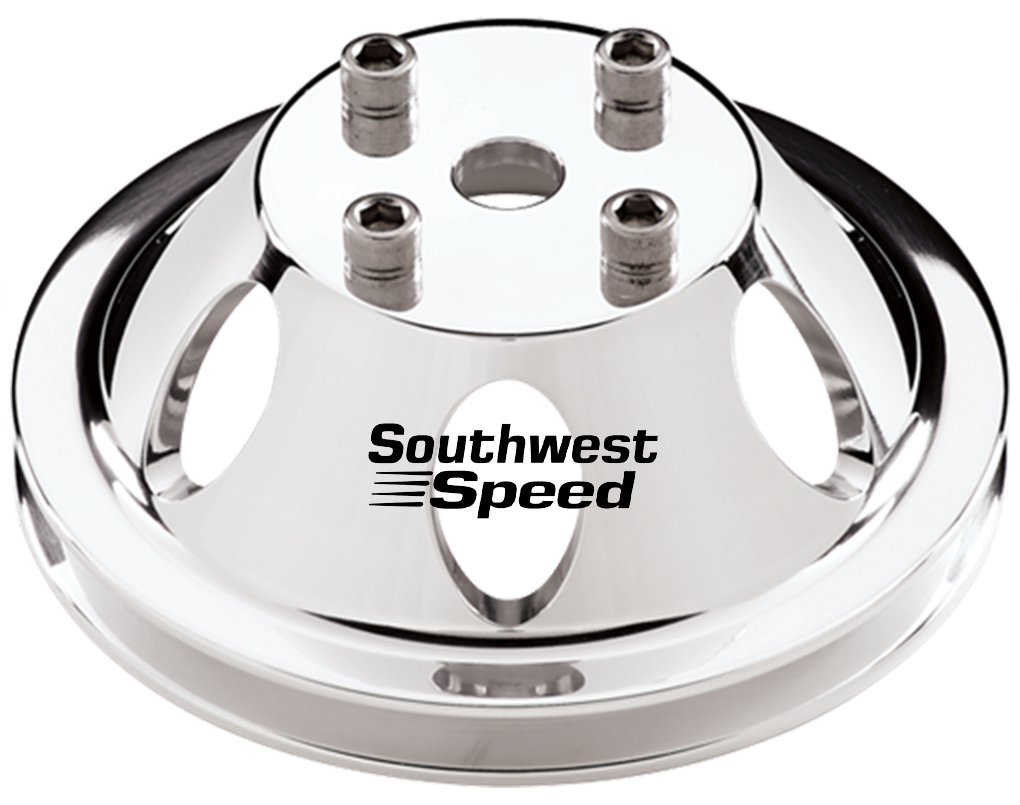 6.60 O.D. SBC CNC MACHINED MIRROR FINISH NEW SOUTHWEST SPEED POLISHED BILLET ALUMINUM WATER PUMP PULLEY WITH 1 V-BELT GROOVE THAT FITS SMALL BLOCK CHEVY ENGINES WITH LONG WATER PUMPS