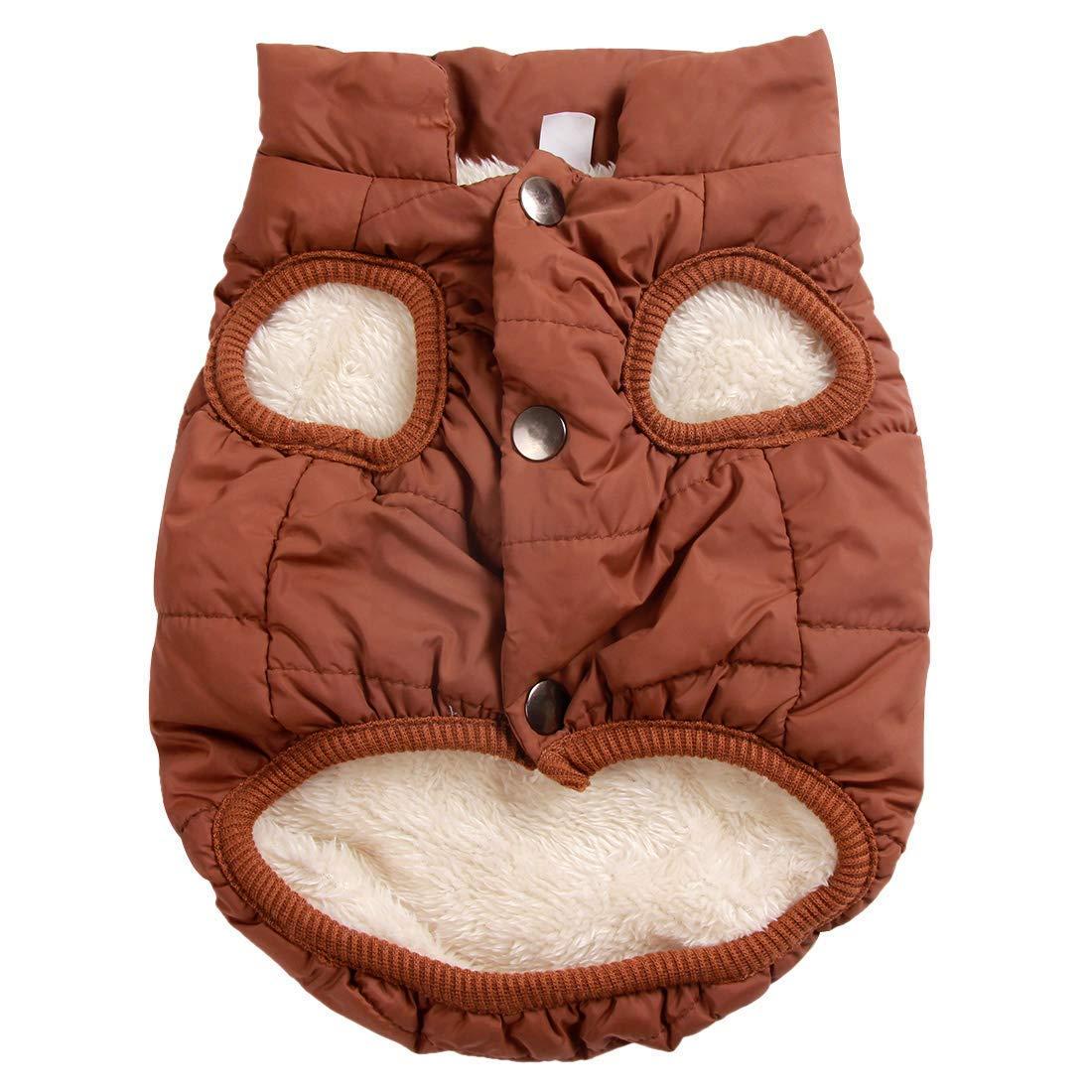 BROWN XXXL BROWN XXXL LLYU Pet Wool Lining Super Warm Dog Jacket Winter Cold Weather, Super Soft Puppy Vest Windproof Puppy Coat (color   Brown, Size   XXXL)