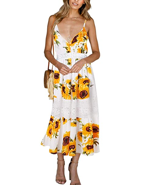 a56c41b129 Blooming Jelly Ladies Dress Flower Printed Deep V-Neck Strappy Lace  Patchwork Ruched Buttoned Waistbelt Backless Split Midi A-Line Sun Dresses  for Women ...