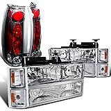 1998 silverado headlights - Chevy Silverado Chrome Headlights Bumper Corner Lamps+Black Tail Lamps