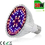 50W LED Grow Light Bulb,Alimu Grow lamp for indoor plants, Plant Light Bulb for Indoor Garden Greenhouse and Hydroponic Plants Full Spectrum (E27 78leds)