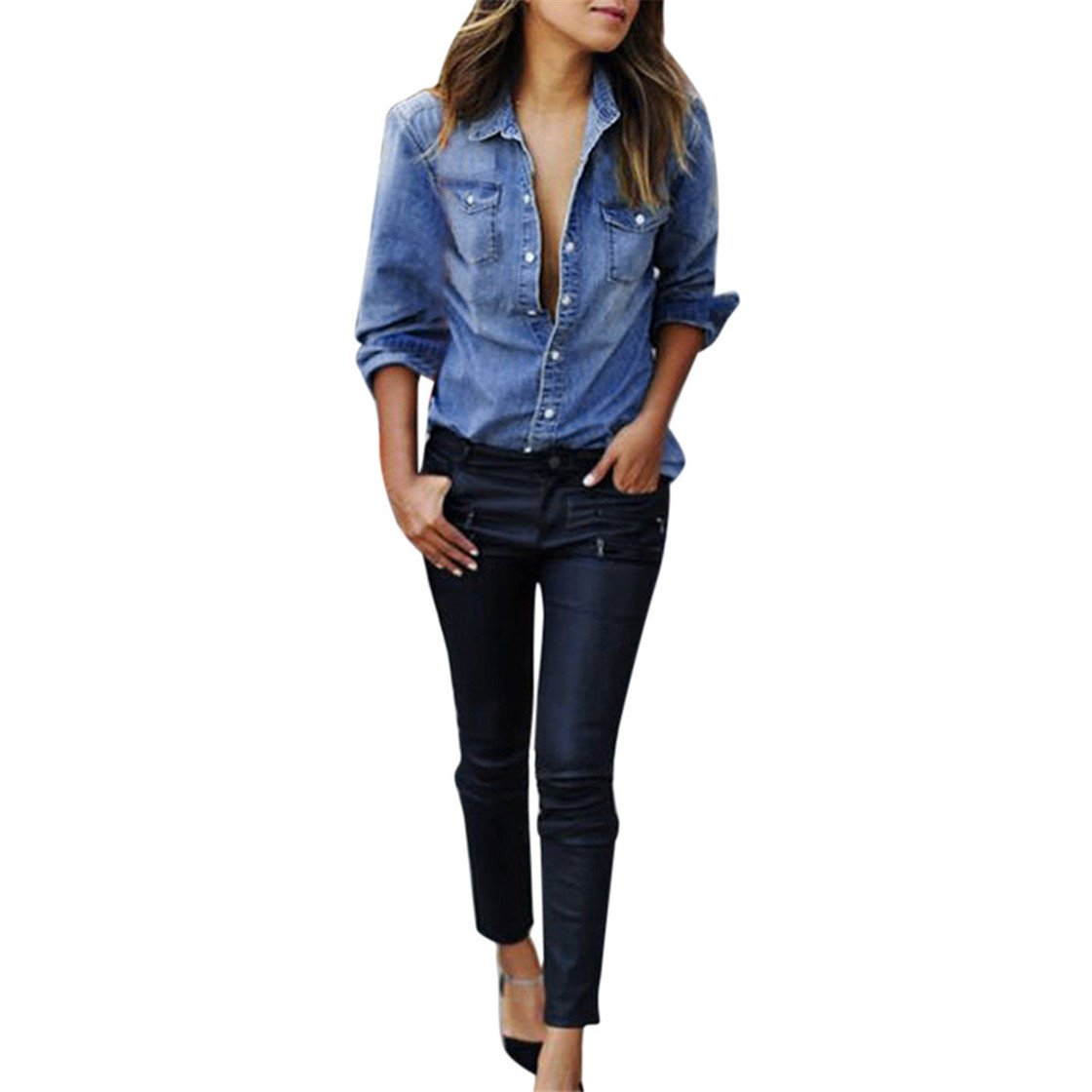 Mose Women's Tops, Women Fashion Womens Casual Blue Jean Denim Long Sleeve Shirt Tops Blouse Comfortable New Elegant Daily Jacket Hot (L3, Blue)