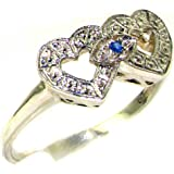 925 Solid Sterling Silver Genuine Natural Blue Sapphire Sweetheart Heart Ring
