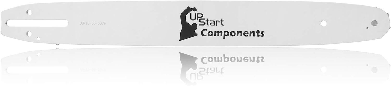 UpStart Components - Barra guía de Repuesto para Motosierra Oleo Mac 140S (40,6 cm de Longitud, Paso de 0,95 cm, Calibre de 56 eslabones, Diente de Nariz de 7 piñones)