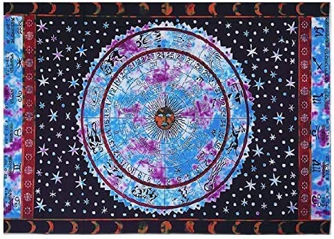 CraftEssentialsOnline.com Zodiac Signs Tapestry Bohemian Decor Polyester Tapestries 57 inches x 79 inches Unique Digital Prints Blue