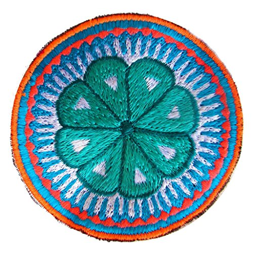 (ImZauberwald white peyote mandala patch huichol artwork tribal embroidery)