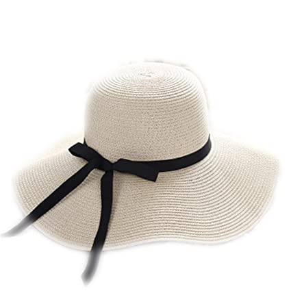 Sun Hat Summer Straw Hat Women Big Wide Brim Beach Hat Foldable Sun Block Uv  Protection 7c5e8463791f