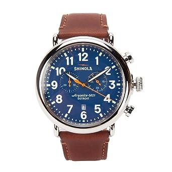 8d2c7d7f3 Amazon.com: Shinola Detroit Men's The Runwell Chrono 47mm - 10000047 Blue/ Dark Brown Watch: Watches