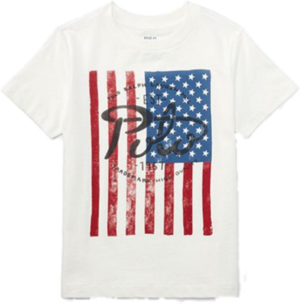 Ralph Lauren Niños Camiseta de Estados Unidos Bandera Logo Blanco Joven 116: Amazon.es: Bebé