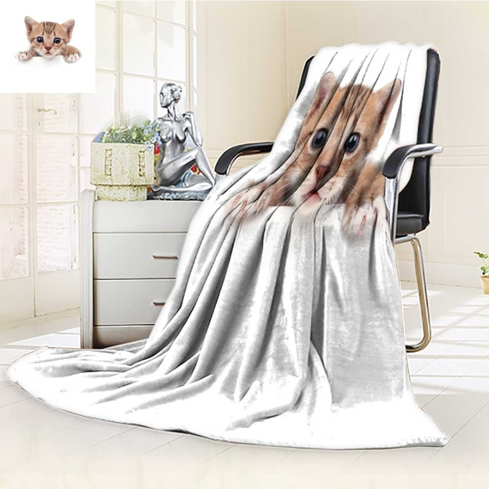 300 GSM Fleece Blanket baby cat in paper side isolated Super Soft Warm Fuzzy Lightweight Bed or Couch Blanket(90''x 70'')