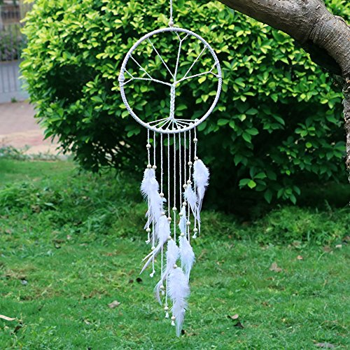 Native American Tree Ornaments (LAVAY Dream Catchers White Handmade Feather Native American Dreamcatcher Circular Net For Car Kids Bed Room Wall Hanging Decoration Decor Ornament Craft)