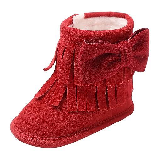 Botas para Bebe Niñas Otoño 2018 Moda PAOLIAN Botines Alta Ayuda Planos Invierno Zapatos Primeros Pasos con Fleco Calzado para recién Nacidos Niñas Mantener ...
